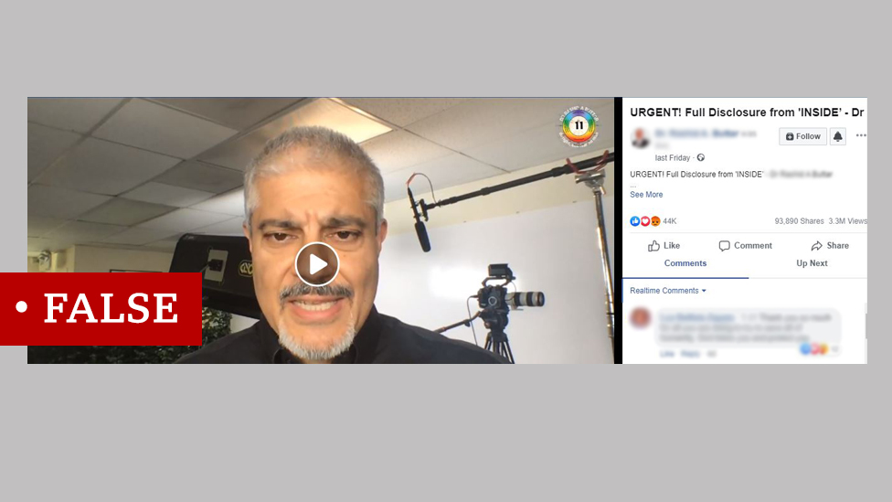 Screenshot of a Facebook video with Dr Buttar, known anti-vax activist