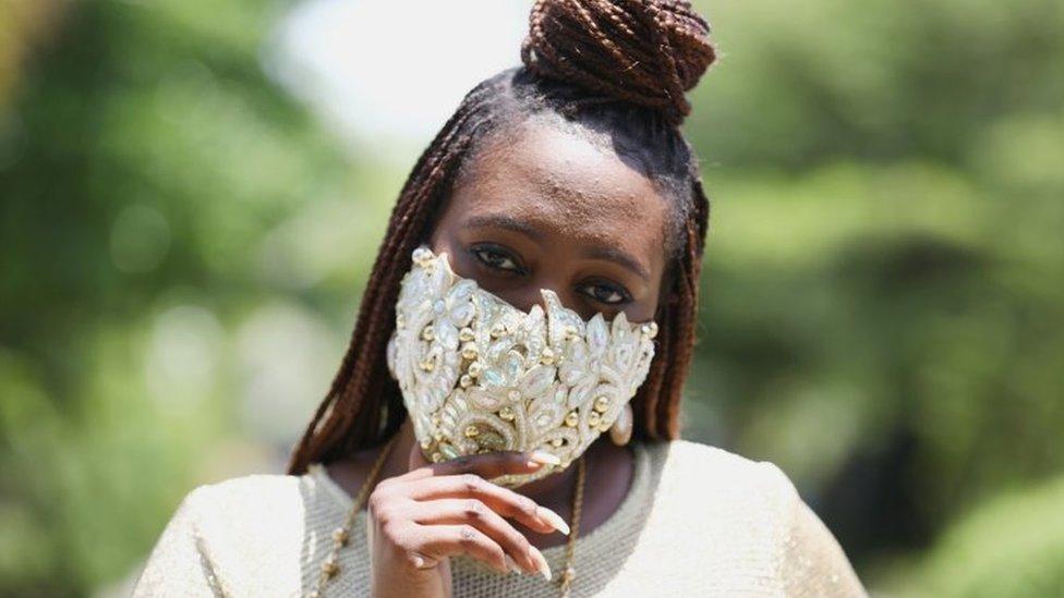 Sefiya Sjejomaoh wears a diamante face mask