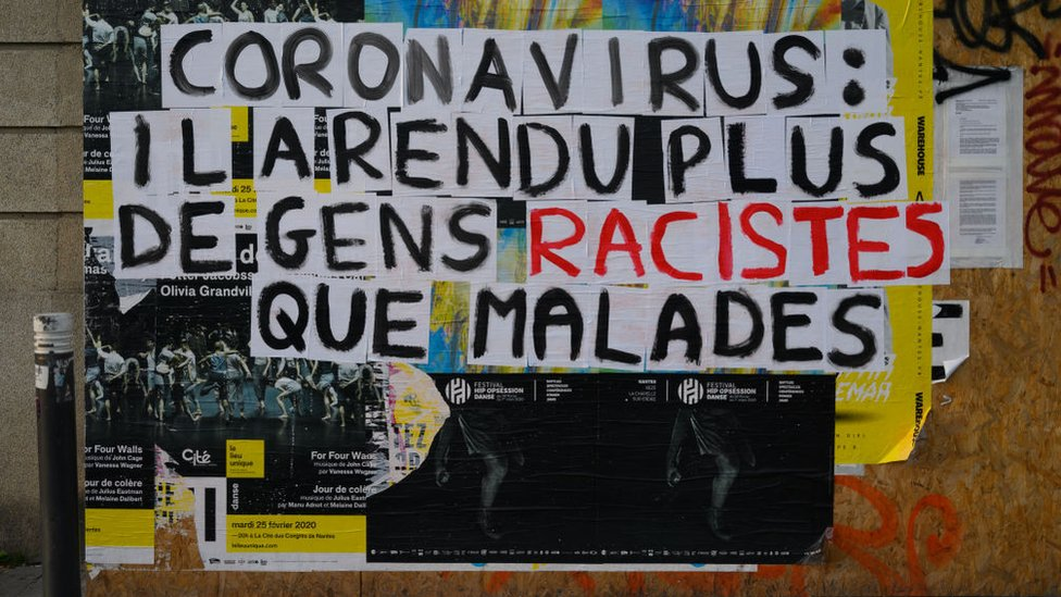 "Poster denouncing ""racist"" stigmatization suffered by Asian people in France since the start of the Coranovirus epidemic in China"