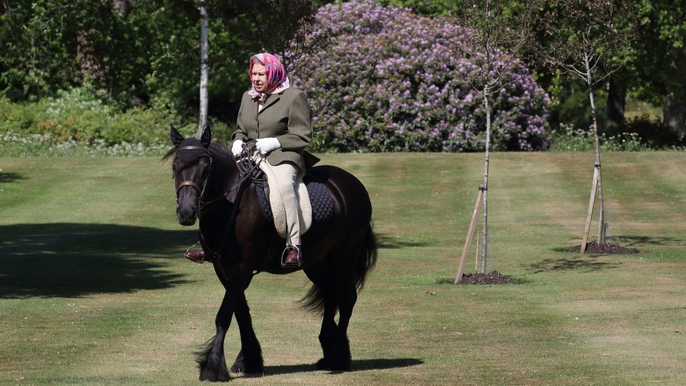The Queen rides in the grounds of Windsor castle