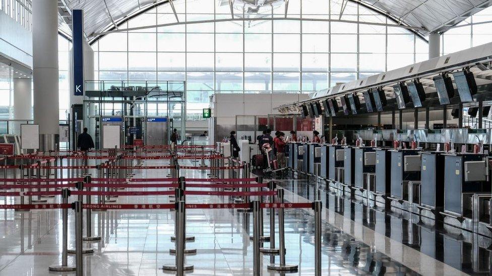 Empty Hong Kong airport terminal