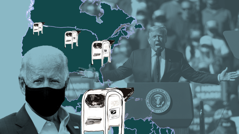 Illustration showing Donald Trump at a rally, Joe Biden wearing a mask, and post boxes, over a map of North America