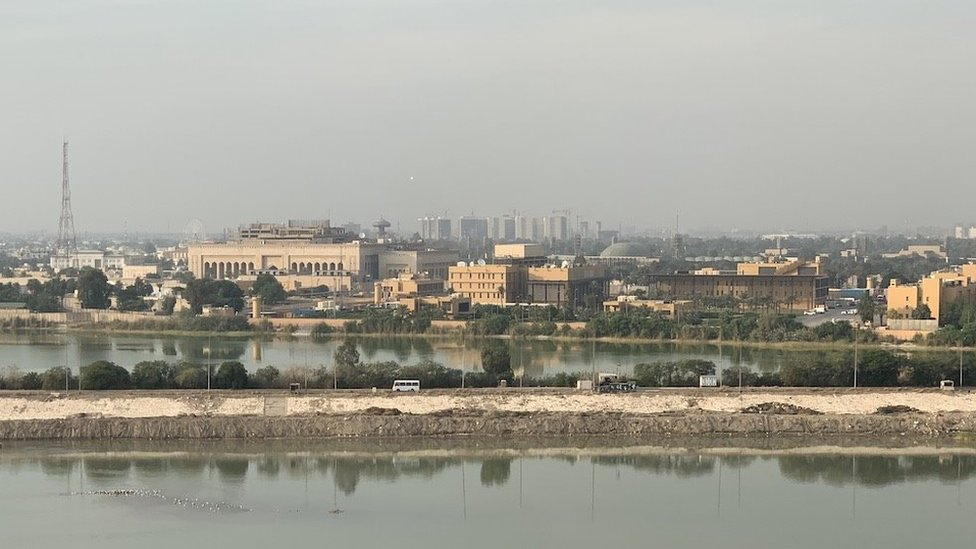 The US embassy in Baghdad (centre of this picture)