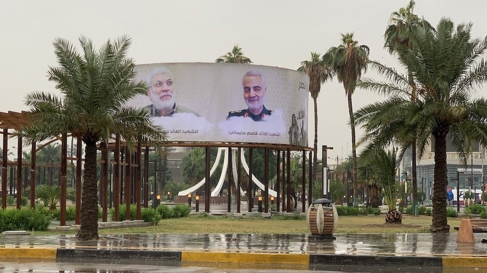 An image of al-Muhandis (left) and Soleimani (right) on a billboard in Baghdad