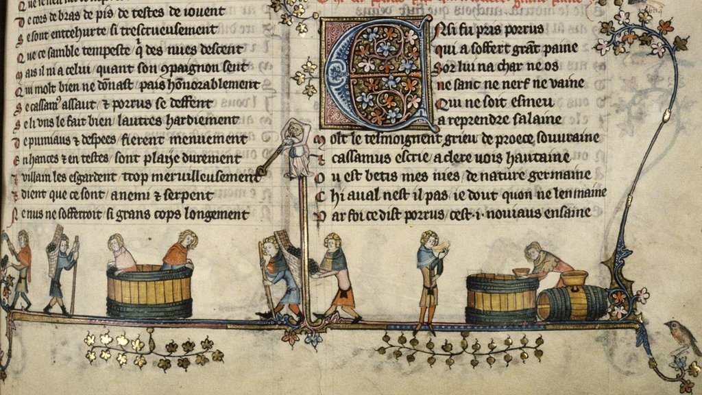 Cistercian numbers are used in this illustration of winemaking which appeared in a Flemish manuscript from the 14th Century