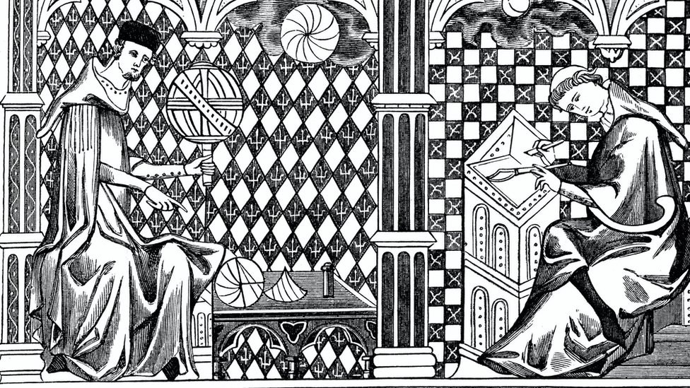 Medieval illustration of one monk teaching the globe and another writing a manuscript