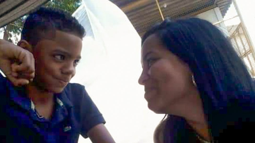 Guilherme with his mum, Joyce da Silva dos Santos