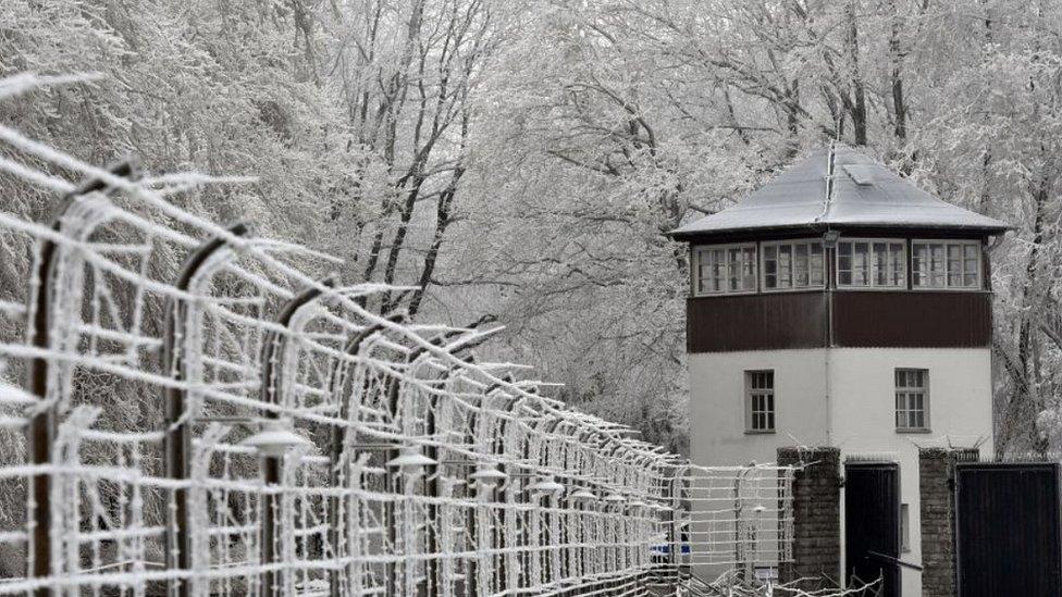 Buchenwald watchtower and fence, 8 Feb 17