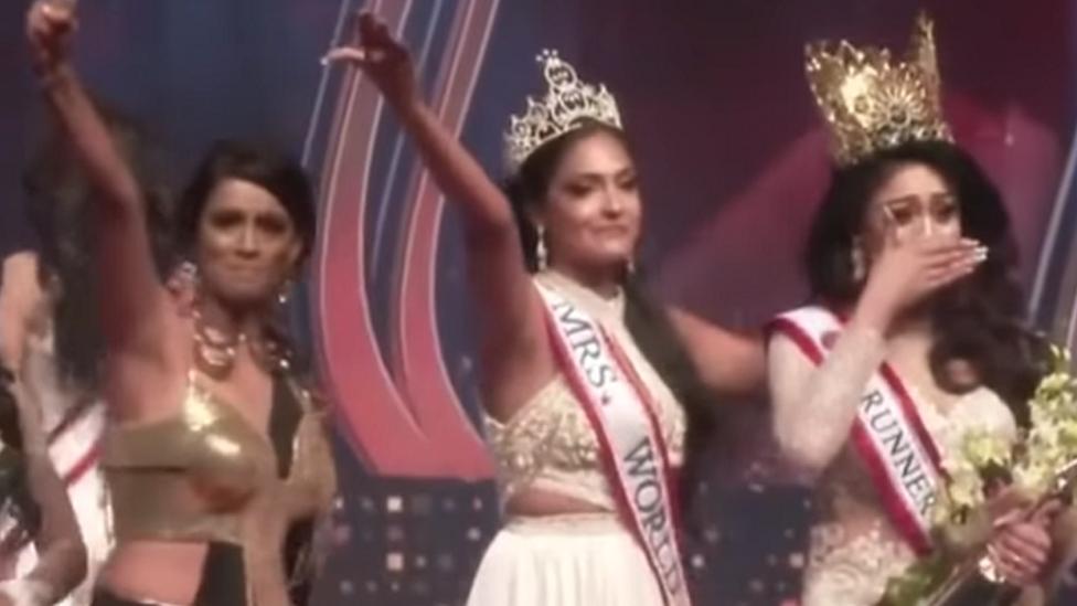 Celebrations on stage at the Mrs Sri Lanka beauty pageant